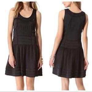 DVF Willa black LBD gathered sleeveless dress 2